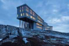 Newfoundland's Fogo Island Inn offers a different kind of island getaway. Newfoundland Canada, Newfoundland And Labrador, Fogo Island Inn, Adventure Hotel, Permanent Vacation, Island Pictures, Order Of Canada, Interesting Buildings, Great Hotel