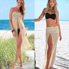 Convertible Hollow Out Crochet Women Cover Up Skirt