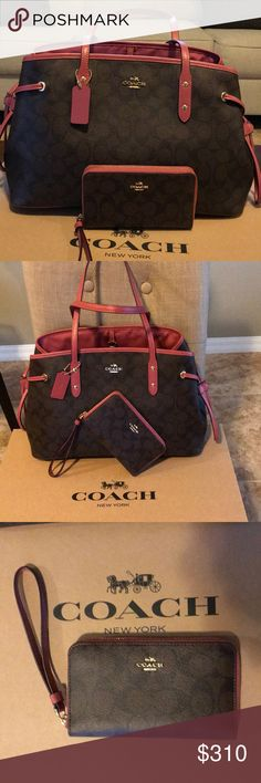 "COACH Signature Coated Canvas Drawstring  + Wallet Perfect Mother's Day 🎁 Details Style #: F57842 Color: Black Brown Rouge (IMCAG) MSRP: $350.00  Measurements Body: 14 1/4"" L x 9 3/4"" H x 6 1/4"" W Handles: 8 1/2"" Drop  Materials Body: Signature Coated Canvas Handles: Leather Interior: Fabric Lining  Features Hang tag Fabric lining Coach logo on front Dogleash clip closure Center zip compartment Secure interior zip pocket Two interior multifunction pockets WALLET  Details Style #: F54630…"