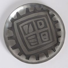 June Calcutt Pewter Hand Made Abstract Geometric Dish c.1960s