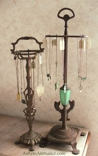Vintage lamps with the hardware removed become stylish jewelry holders. Surprise Mom with one of these and add on a piece of jewelry or two
