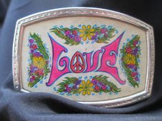 Vintage Hippie LOVE Belt Buckle 70's Belt Buckle with Peace Sign, Flowers and Love by MemoriesofMargaret on Etsy