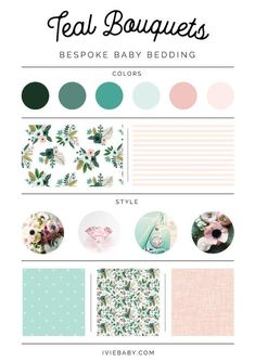 This item is unavailable Colour Pallette, Colour Schemes, Color Trends, Baby Bedding, Nursing Pillow Cover, Pillow Covers, Teal Bouquet, Site Web Design, Branding