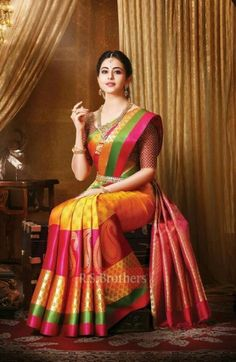 India is so special for the rich cultural variety and colorful dressing traditions. Saree (sari) is the best among Indian dresses. Pattu Sarees Wedding, Indian Bridal Sarees, Wedding Silk Saree, Indian Silk Sarees, Soft Silk Sarees, Indian Beauty Saree, South Indian Sarees, Designer Sarees Wedding, Bridal Lehenga