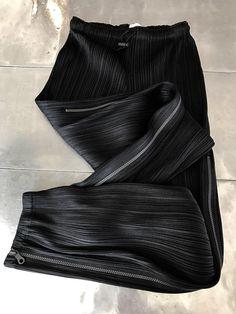 Issey Miyake Pleats Please black trousers, Vintage authentic Issey Miyake geometric pants, stylish pleated black pants, Issey miyake pattern by NUKOBRANDS on Etsy https://www.etsy.com/listing/520284589/issey-miyake-pleats-please-black