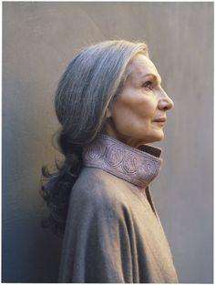 Tanya Drouginska in BLOOM. elegant, long gray hair.