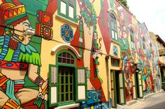 You can find these beautiful murals in Haji Lane. Don't forget to also take a peak inside Pieda Negra; the interior is uber-cool.  Blu Jazz around the corner is a lovely spot for a drink and some food while listening to live music.  Curly Traveller: Piedra Negra, Haji Lane, Singapore.