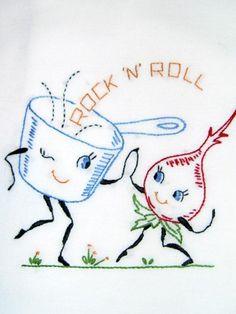 Rock and Roll Flour Sack Tea Towel - via @Craftsy