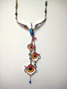 Franz Porcelain Jewelry Peacock Necklace 71 | eBay