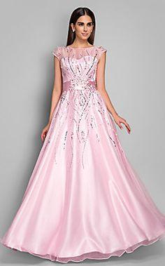 A-line Bateau Floor-length Organza Evening Dress(612418)   – USD $ 199.99