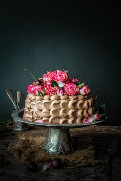 Dark Chocolate Cake with Milk Chocolate and Cherry Buttercream | Sugar et al