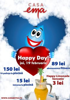 Love Happy Day, cu tot cu Limonada Senzatie inclusa, 19 februarie 2015! Ema, Happy Day, Movie Posters, Pools, Film Poster, Billboard, Film Posters