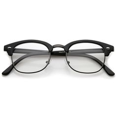 An iconic frame that will add sophistication and style to any look, these classic half frame eyeglasses feature small square clear lenses and subtle horn rimmed