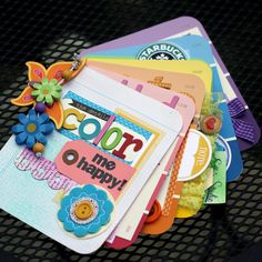 Fabulous mini scrapbook album using paint sample cards!  Great idea!