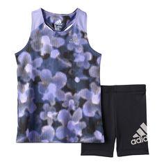 Toddler Girl Adidas Floral Racer Tank Top & Bike Shorts Set, Size: 3T, Lt Purple