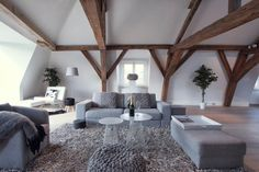 too much grey but the exposed beams are really beautiful!