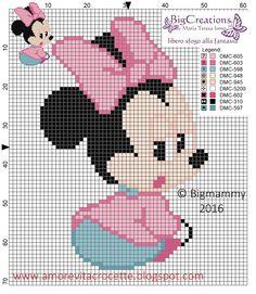 Baby Minnie Mouse x-stitch Cross Stitch Art, Cross Stitching, Cross Stitch Patterns, Disney Babys, Baby Disney, Perler Bead Emoji, Disney Stich, Crochet Disney, Mickey And Friends