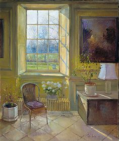 ◇ Artful Interiors ◇ paintings of beautiful rooms - TIMOTHY EASTON Bell Hall, Escrick, Yorkshire