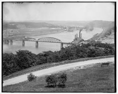 The Allegheny River as seen from Highland Park. The photo is believed to have been taken between 1900 and Washington And Jefferson, Mount Washington, Victorian Photography, Pittsburgh City, Suspension Bridge, Union Station, Roller Coaster, State Parks, Habitats