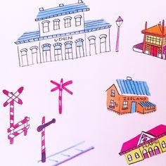 WIP: Little stations for editorial illustration @mestmagazine.  By Marjolein Schalk. #illustration #sketch #ink #mestmag #mestmagazine #station