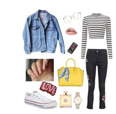 Denim and stripes💙 by sfrtasya on Polyvore featuring polyvore, fashion, style, Miss Selfridge, Levi's, Converse, Givenchy, ROSEFIELD, Stoney Clover Lane, Asprey and clothing