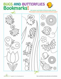 Enjoy a coloring activity that can inspire your child to read more! Color your own bookmark with these cute bug and butterfly templates.