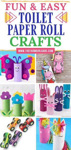 Fun & Easy Toilet Paper Roll Crafts for Kids Stocked up on toilet paper? These Easy Toilet Paper Roll Crafts for kids are a great way to recycle the toilet paper rolls. These fun toilet paper roll crafts will keep the kids busy for hours. Toddler Arts And Crafts, Spring Crafts For Kids, Paper Crafts For Kids, Craft Activities For Kids, Baby Crafts, Preschool Crafts, Diy For Kids, Kids Fun, Kids Girls