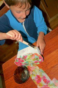decoupage dla dzieci, zabawa, pudełko, diy, dekorowanie, prezent, szkatułka