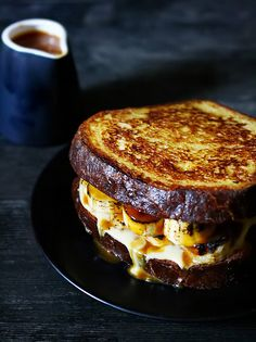 Brioche French Toast with Bananas, Crème Patissiere and Salted Caramel toast banana french_toast recipe French Toast Sandwich, Brioche French Toast, Banana French Toast, Creme Brulee French Toast, Banana Sandwich, Think Food, I Love Food, What's For Breakfast, Breakfast Recipes