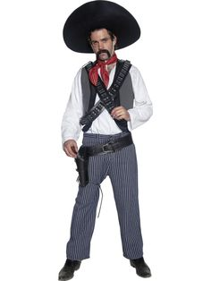 Buy Authentic Western Mexican Bandit Costume at Fancy Dress Delivered. Mexican Fancy Dress, Indian Fancy Dress, Mexican Outfit, Mexican Dresses, Mexican Clothing, Mexican Style, Native American Costumes, Western Costumes, Cowgirl Costume