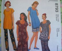 - MCCALLS SEWING PATTERN  -    - Misses  - 4,6  LONG SHIRT, SHORTS, PANTS      BRAND NEW * FIRST Quality -    Most of my patterns are Vintage from the