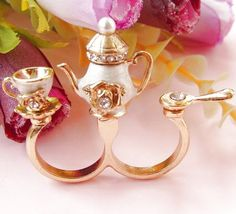 Teapot Cup Spoon Crystal Ring - Sheinside.com i LOVE this #fashion #jewels