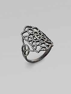 Diane Kordas Diamond Embellished 18K Black Gold Arabesque Ring