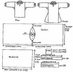 medieval tunic shirt or smock sewing pattern Renaissance Costume, Medieval Costume, Renaissance Era, Camisa Medieval, Medieval Tunic, Historical Costume, Historical Clothing, Historical Photos, Larp