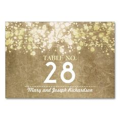 Shop String lighs Wedding Table Number Card Place Card created by jinaiji. Card Table Wedding, Wedding Place Cards, Wedding Table Numbers, Vintage Wedding Invitations, Wedding Stationary, Glitter Table Numbers, Wedding Matches, Table Cards, String Lights