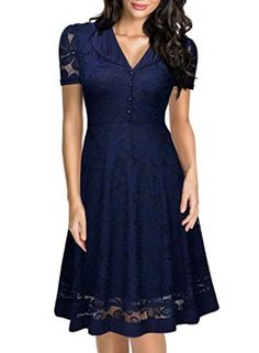 Amazon.com: Miusol Women's Cap Sleeve 1950s Style Vintage Black Lace A-line Dress: Clothing