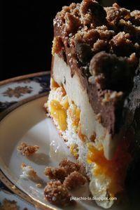 Pistachio: Pięć warstw czyli słodkość jesienna. Biszkopt migdałowy, confit mandarynkowe, krem bawarski (bavarois), mus czekoladowy.