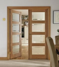 This 4 Panel Oak Shaker glazed door has four clear glass panes which add interest and light to modern interiors. Ready for painting this door also comes with toughened glass. - October 13 2019 at Inside Doors, Home, Sliding Doors Interior, Room Doors, Doors Interior, Internal Glass Doors, Oak Doors, Wood Doors Interior, Oak Glazed Internal Doors