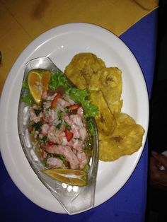 Costa Rica Food. Cheviche of Shrimps with fried banana's. Visit our blog at: http://www.livingthedreamincostarica.com Follow us on facebook:  www.facebook.com/LivingInCostaRica
