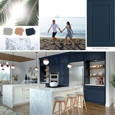 Blue for you? 750 Painted Linen and Navy are perfect partners in this spacious kitchen inspired by warm beach memories on the Pacific. #moodboard #kitchenremodel #waypointlivingspaces #kitchencabinets #kitchendesign #navycabinets #kitcheninspo Navy Cabinets, Kitchen Cabinets, What's Your Style, Kitchen Islands, Painting Cabinets, Other Rooms, Mondays, Cabinet Doors, Kitchens
