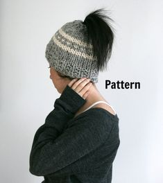 This is a pattern to make your own ponytail/messy bun hat. This is a knit pattern, not a finished product. After payment you will be able to download your pattern and begin your project. This is an easy pattern but will need to know basic knit terms. This is knit in the round using circular needles Skill Level : Advanced Beginner. Hat is made with chunky yarn. Both warm and stylish! +++++++++++++++++++++++++++++++++++++++++++++++++++++++++++++++++++++++++++ If you dont knit no worries. ...