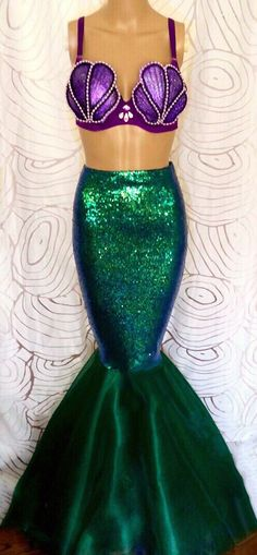 2pc Sequin Mermaid Costume with Seashell Bra by SPARKLEmeGORGEOUS