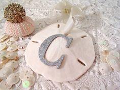 Christmas Sand Dollar Ornament - Monogram Sea Shell Christmas Tree, Beach Winter White Christmas Decoration