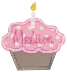 Cupcake and Candle Applique - 4x4 | Birthday | Machine Embroidery Designs | SWAKembroidery.com