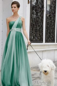 Green One Shoulder Chiffon Formal Prom Bridesmaid Ball Gown Dress Blue  Bridesmaids a0641a09f