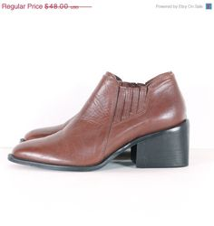 Vintage 80s // brown leather ankle boots // cognac by shopCOLLECT, $40.80
