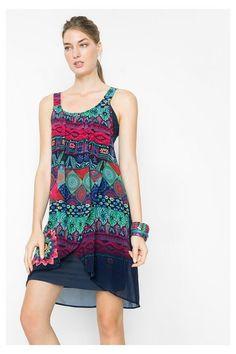 Vestido con capas efecto gasa Desigual. ¡Descubre la colección primavera-verano 2016!