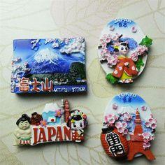 Free shipping Japan Tokyo Geisha Fuji Mt. Sakura Sumo Fridge Magnet Figure Tourist Souvenir home decoration kids toy supply gift