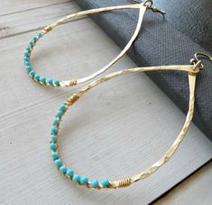 Gold hoop earrings with turquoise beads by BLUEskyBLACKbird