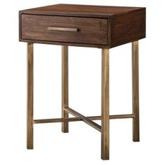 Threshold Wood And Brass Square Accent Table I Target